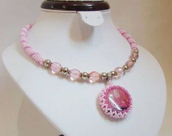 e0bd7f6addf Light pink necklace Pink silver necklace Agate pendant Round pendant  Gemstone pendant Beaded necklace Beaded jewelry Gift for birthday