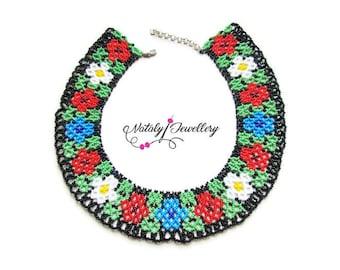 Wildflowers beaded Flower choker necklace Modern necklace Statement necklace Bohemian jewelry Gift for her Gift ideas Flower jewelry Choker