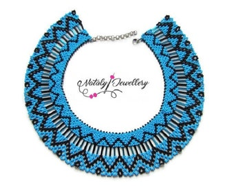 Blue black seed bead necklace Modern native american necklace Bohemian bib tribal necklace Indian jewelry Beadwork Christmas gift for her