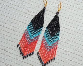 Black red earrings, long earrings, indian earrings, boho ethnic jewelry, bohemian jewelry, indian jewelry, girlfriend gift
