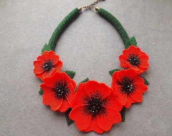Red flowers necklace Big beaded necklace Gift for her Red green floral necklace Bib seed bead necklace Exclusive gift