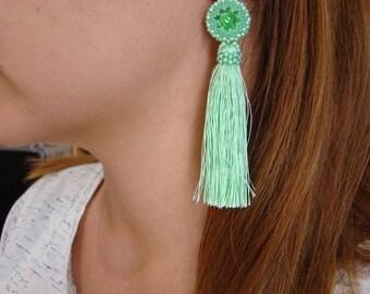 Green tassel earrings Bohemian long earrings Fringe earrings Statement seed bead earrings Beaded jewelry Gift for bride Dangle earrings