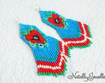 Poppy flower earrings Long boho earrings Red blue earrings Flower earrings  Beaded flowers Mothers day gift Gifts for mom Mothers jewelry
