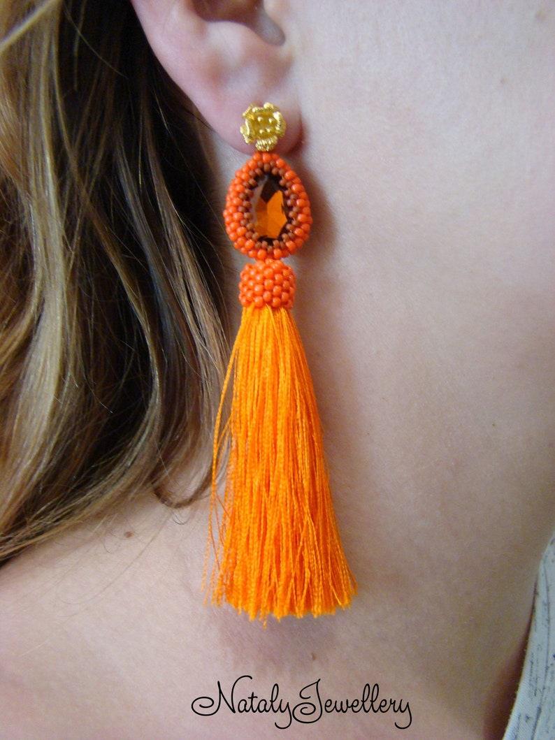Orange brown beaded earrings Autumn modern earrings Halloween tassel studs earrings Bohemian rhinestone earring Gift for mom Classic jewelry