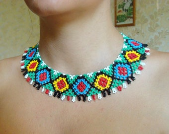 Rainbow necklace Tribal necklace Modern necklace Statement necklace Tribal jewelry Bohemian jewelry African jewelry Gift for her Gift ideas