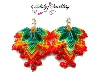 Red green clips Autumn earrings Beaded earrings Leaf earrings  Seed bead earrings Modern earrings  Gift for her Coral Beaded jewelry