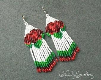Red roses earrings White red green earrings Long earrings Seed beaded earrings Flower earring Boho earrings Roses jewelry