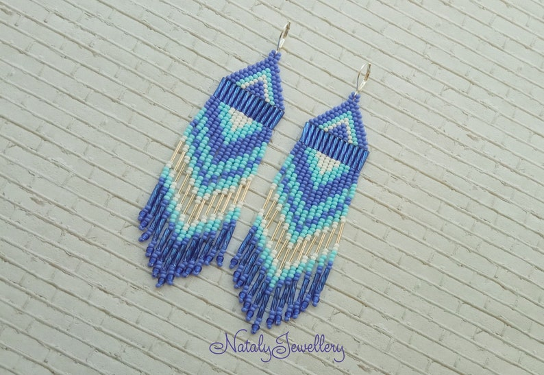 White blue earrings Long earrings Native american earrings image 0