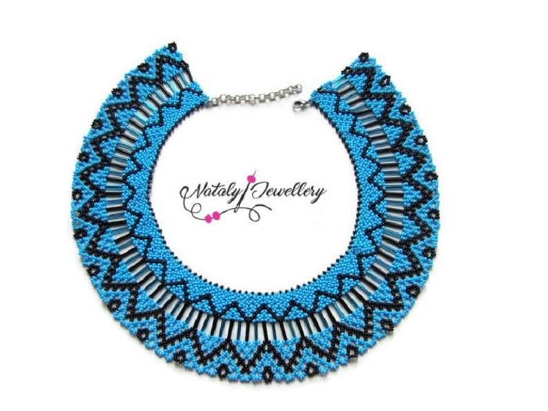 Blue black seed bead necklace Modern native american necklace image 1