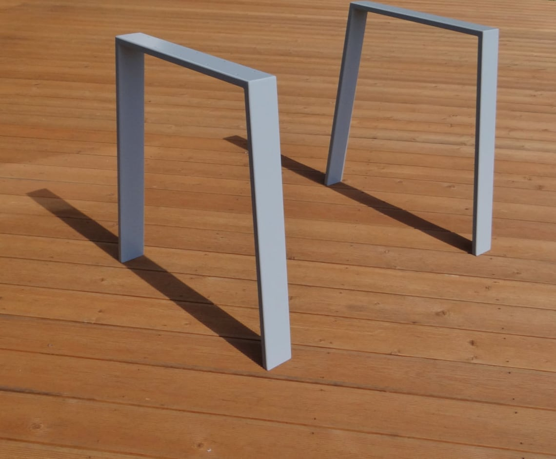 Modern Steel Dining Table Legs (set of 2 legs). Metal Legs for Kitchen Table. Strong, Industrial Legs for Reclaimed Wood