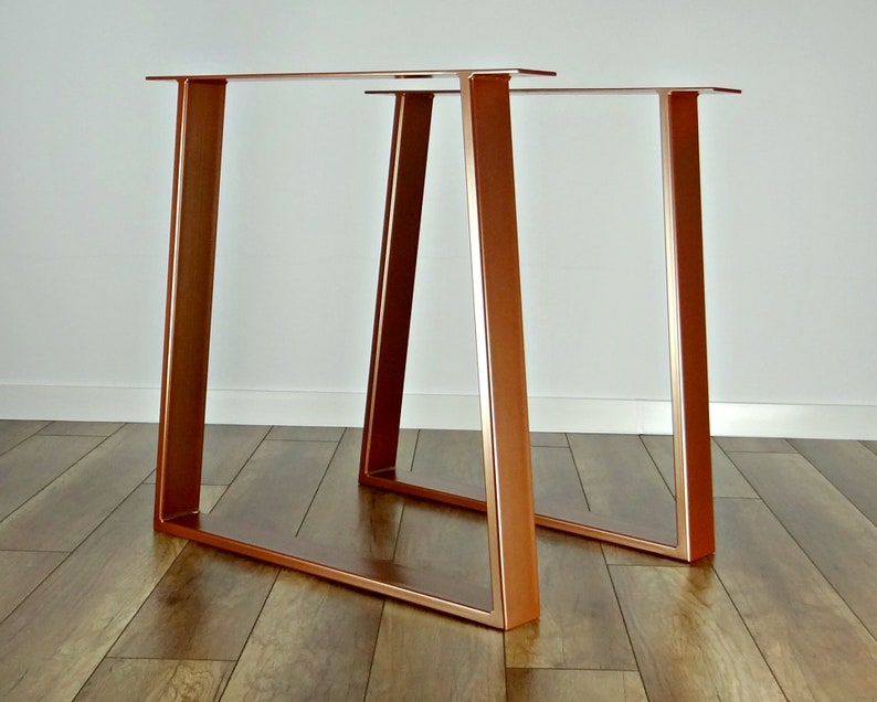 Charmant Metal Dining Table Legs (set Of 2). Copper Colour Steel Table Legs. Table  Base. Trapezoid Metal Frame For Mid Century Modern Table