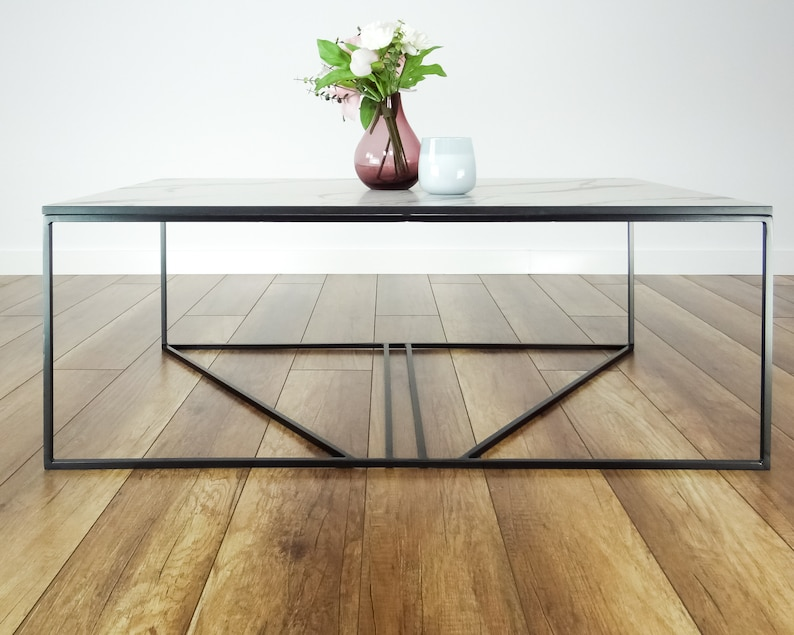 Remarkable Mcm Mid Century Metal Coffee Table 100X60Cm Large Modern Coffee Table Marble Like Top Gmtry Best Dining Table And Chair Ideas Images Gmtryco