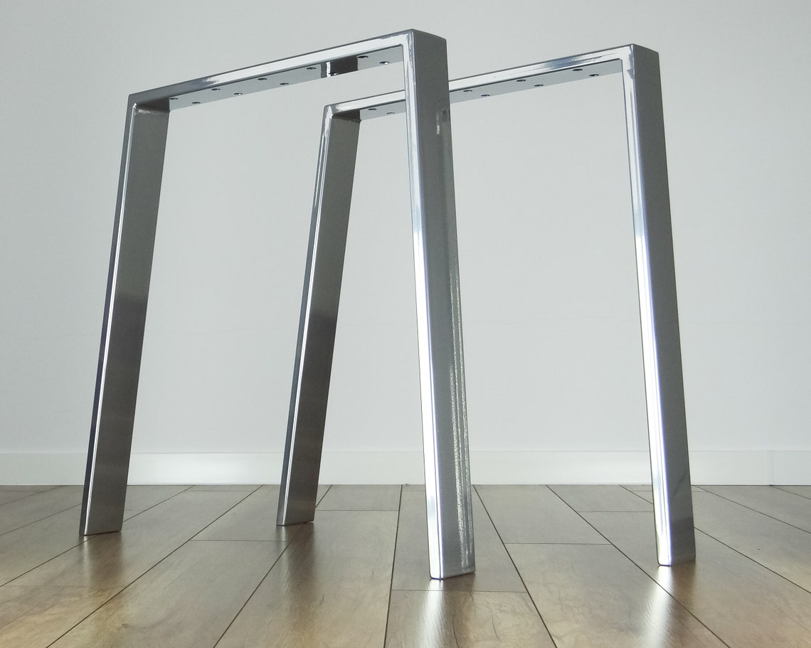Metal Dining Table Legs set(2). Modern Steel Table Legs. Trapezoid, Trestle, Iron Desk Legs for Reclaimed Wood