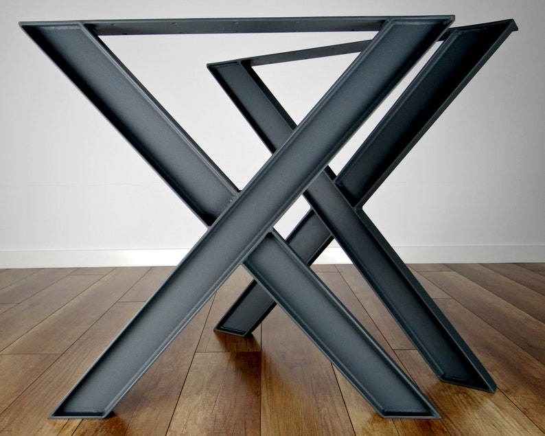Gambe tavolo da pranzo in metallo (set di 2). Gambe tavolo in acciaio  industriali. Tabella di Base. X forma struttura tavolo in metallo