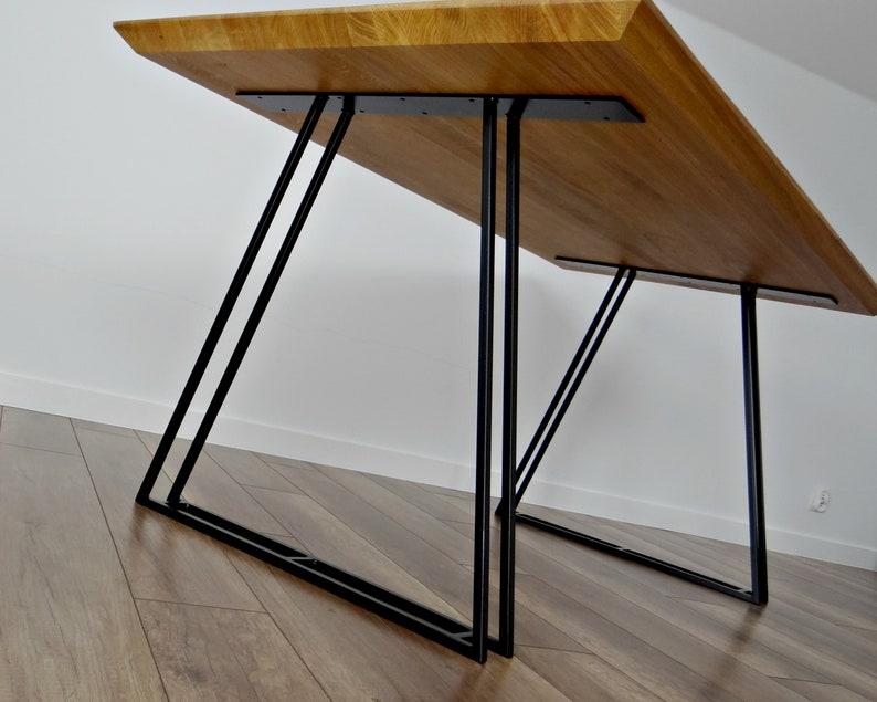 Gambe tavolo da pranzo in metallo (set di 2). Gambe tavolo mercurio.  Tabella di Base. Struttura in metallo del trapezio per tavolo moderno di  metà ...
