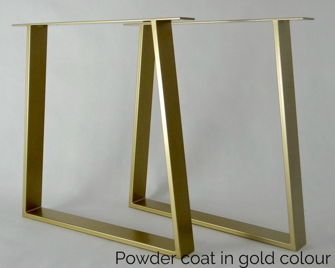 Metal Dining Table Legs (set of 2). Gold Steel Table Legs. Table Base. Trapezoid metal Frame for Mid Century Modern Table