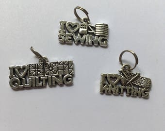 I heart Sewing, I heart Quilting, I heart Knitting silver Zipper Charms - 2.5cm
