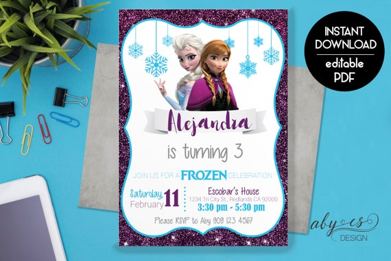 Frozen Birthday Invitation Printable