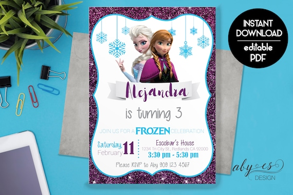 Frozen Birthday Invitation Printable Frozen Invitation Etsy