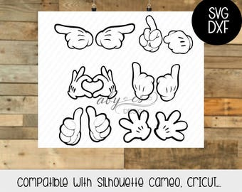Mickey Hands SVG, She is mine, He is mine, DXF,  Silhouette, Cameo, Cricut, Disney Svg