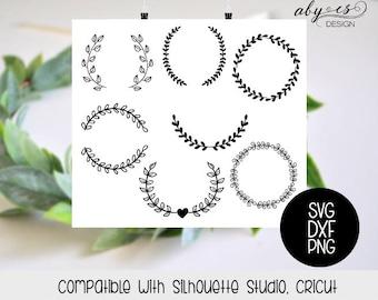 Leaf wreath SVG File, Leaves, Crown, laurel wreaths, clipart, cut files, Silhouette, Cricut, PNG, frames, ornaments, elements