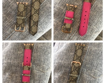 0588b893650 Handmade Apple Watch Strap. 38mm 42mm 44mm Upcycled from 100% Authentic  Gucci Bag. GG canvas band and genuine leather. Series 1 2 3 4