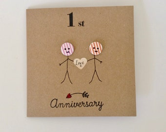 1st anniversary card husband etsy 1st anniversary card button head first to tenth anniversary cards happy anniversary wife husband hand drawn stick people one year card m4hsunfo