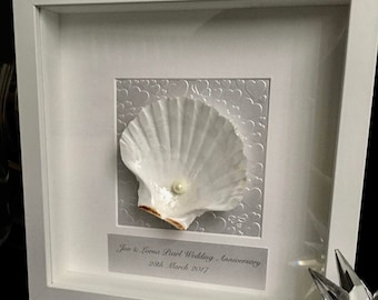 30th Wedding Anniversary gift, Shell art Anniversary gift for parents, hand made