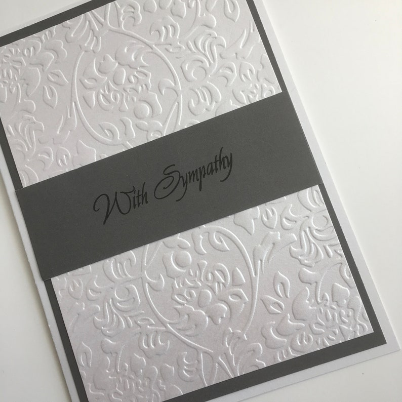 sorry for your loss thinking of you dark grey and white with sympathy embossed card Bereavement card Hand made loss and grieving card.