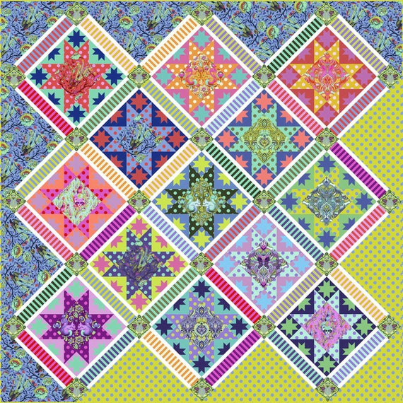 Center Stage Quilt Kit Featuring All Stars By Tula Pink Etsy