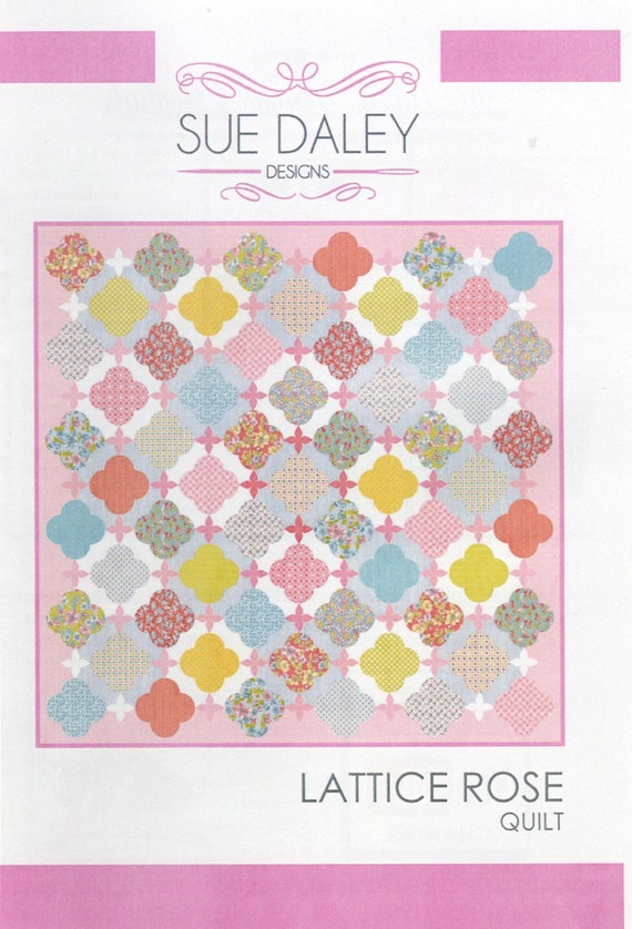 Lattice Rose Quilt Pattern By Sue Daley Of Patchwork With Etsy Adorable Rose Quilt Pattern