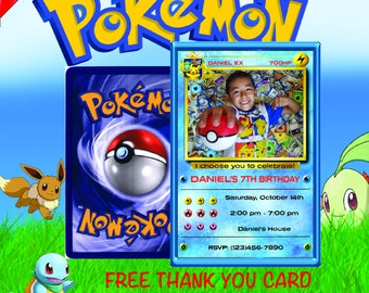 Pokemon Invitation Birthday Card Party Invite Go Blue