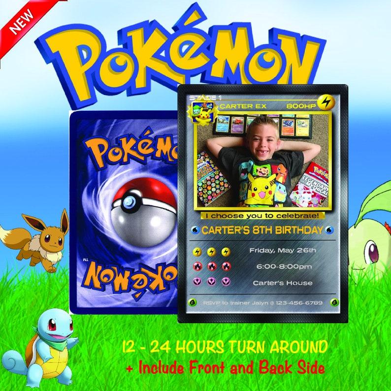 Pokemon Invitation Birthday Card Party Invite Go Silver