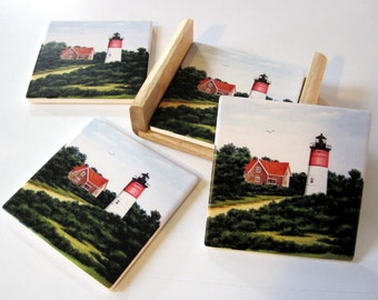 Coasters - Set of 4 with wooden caddy