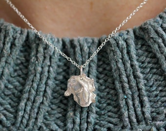 Petal Necklace | Eco Silver Necklace | Simple Recycled Necklace | Handmade Eco Jewellery | Textured Pendant | Gift For Her | Scottish Gift