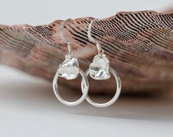 Petal Circle Earrings | Eco Silver Earrings | Recycled Earrings | Handmade Eco Jewellery | Dangly Earrings | Gifts For Her | Scottish Gift