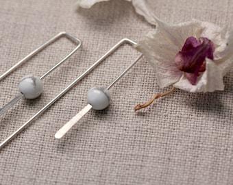 Mia Howlite Wire Earrings | Sterling Silver Earrings | Minimalist Earrings | Handmade Jewellery | Dangly Earrings | Gifts For Her