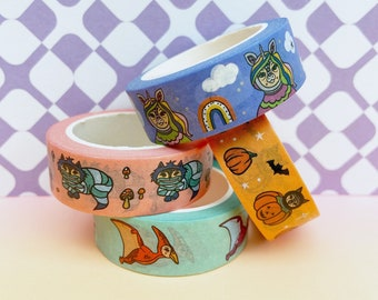 Cute Washi Tape Collection, FOUR Illustrated Decorative Paper Masking Tapes, Scrapbooking Accessory, Bullet Journal Pink Green Orange Blue