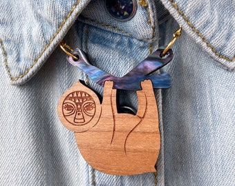 Sloth Galaxy Acrylic And Cherry Wood Necklace, Pendant Laser Cut Statement Jewellery