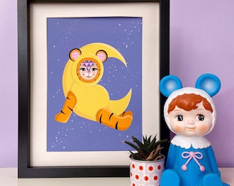 Tiger Moon Print, A4 or A3 Wall Art Print, Love You Moon, Colourful Illustration