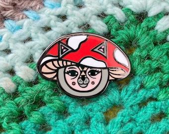 Mushroom Cat Pin, Woodland Forest Enamel Badge, Cute Lapel Toadstool Pin Gift
