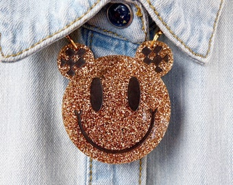 Smiley Face Gold Glitter Acrylic Necklace, Pendant Laser Cut Statement Jewellery, 90s Fashion, Happy