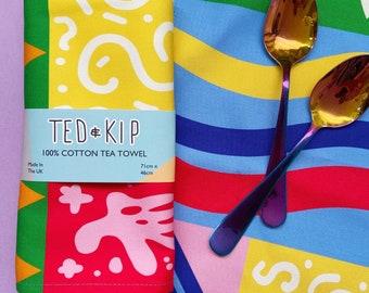 Cotton Retro Print Tea Towel - Rainbow Quirky Style Illustration, Vibrant Colourful Home Decor, Nineties, 90s
