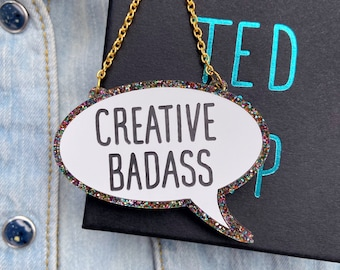 Creative Badass Acrylic Necklace, Artist Gift Jewellery, Multi Coloured Glitter With Presentation Foiled Box, Maker
