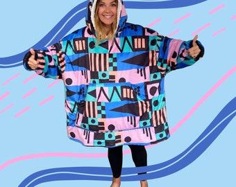 Giant Snuggle Hoodie - Wearable Blanket - Retro Squares Abstract Print - Sherpa Lined Fleece Oversized Cozy Sweatshirt