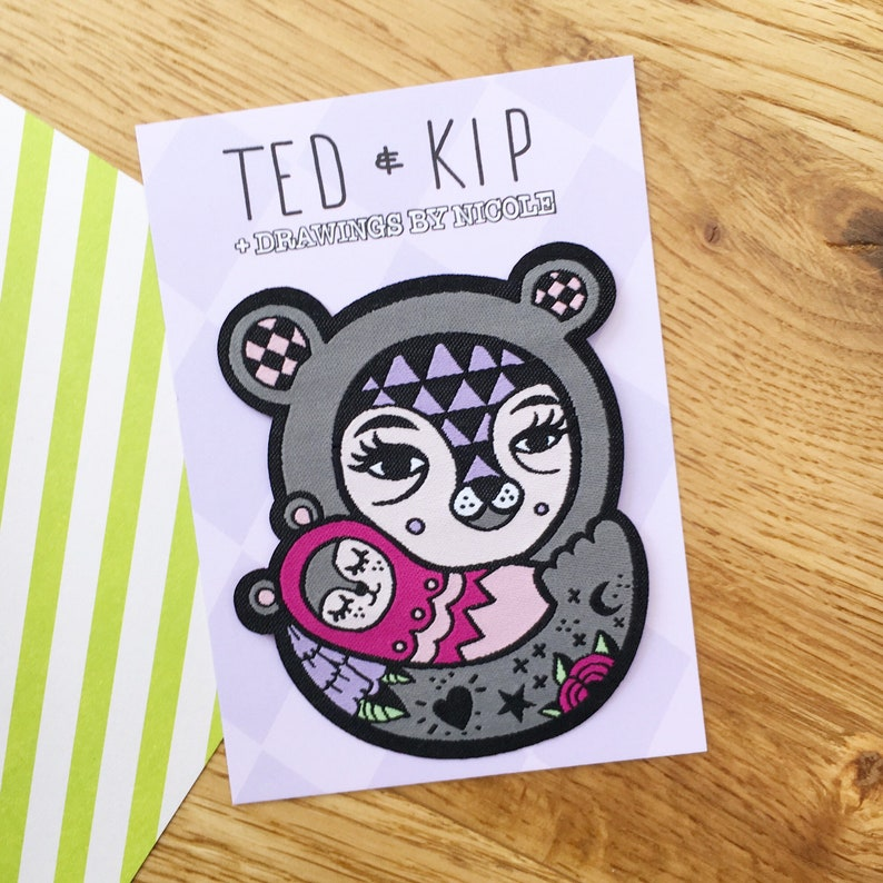 Quirky Mama Bear And Baby Tattoo Iron On Patch Cute And Unusual New Mum Gift