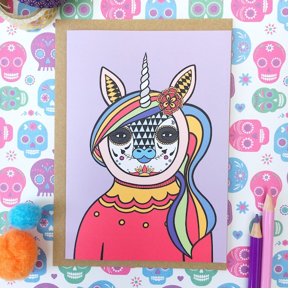 Unicorn card day of the dead gift greetings card dia de los etsy m4hsunfo