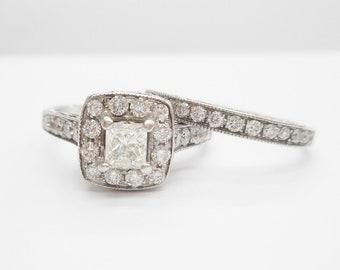 bb7a6cb60 14K White Gold Vintage Princess Diamond Engagement Wedding Set Ring