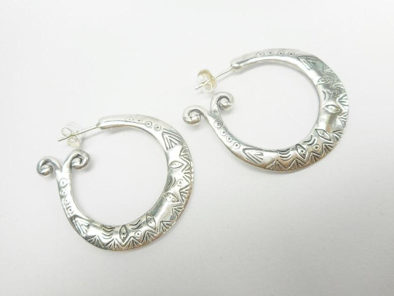 Designer Quality Sterling Silver Etched Tribal Designed Hoop Earrings Hoops