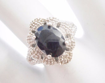Sapphire Ring, Vintage Sapphire Ring, Sterling Ring, Midnight Sapphire, Sterling Silver 2.2 Ct Oval Sapphire Ring Sz 7 #2816